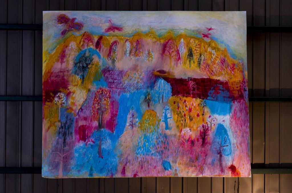 山の絵 Oil pastel,Crayon,Water Gouache on paper 1390 mm high x 1750 mm wide  2015 ¥300,000 -