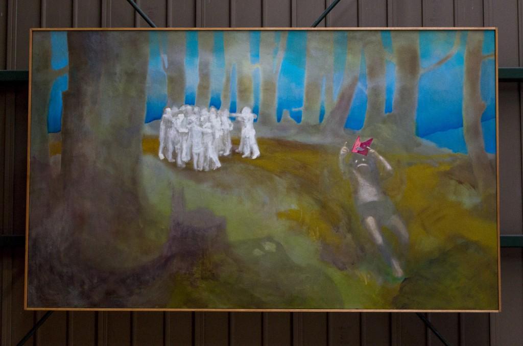 人々は議論に夢中で誰も小鬼に気づかない oil on canvas 970 mm high x 1620 mm wide 2015 ¥1000,000 -