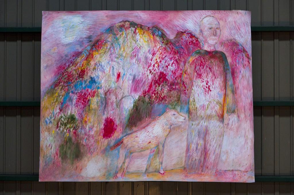 犬の散歩 Oil pastel,Crayon,Acrylic colors on paper 1390 mm high x 1750 mm wide  2015 ¥300,000 -